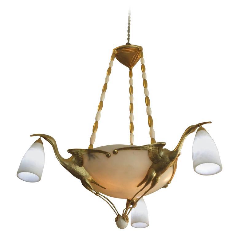 Albert Cheuret Style 24k Gold Finished Bronze Crane Chandelier