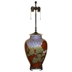 Japanese Studio Vase Lamp with Floral Decoration