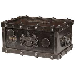 19th Century French Polished Cast Iron Safe with Coat of Arms and Handles