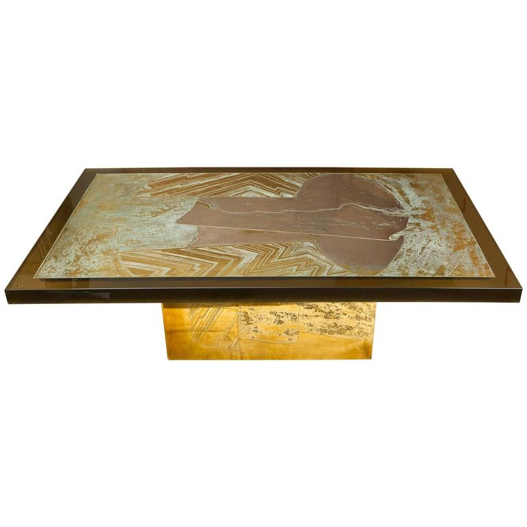 """Stunning Acid Etched Brass Coffee Table """"Abstraction"""" by Armand Jonckers"""