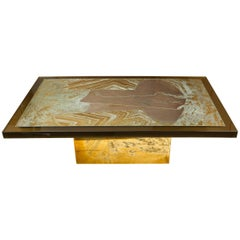 "Stunning Acid Etched Brass Coffee Table ""Abstraction"" by Armand Jonckers"