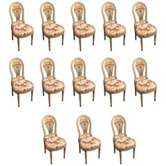 Set of 13 Balloon Back Dining Chairs by Maison Jansen