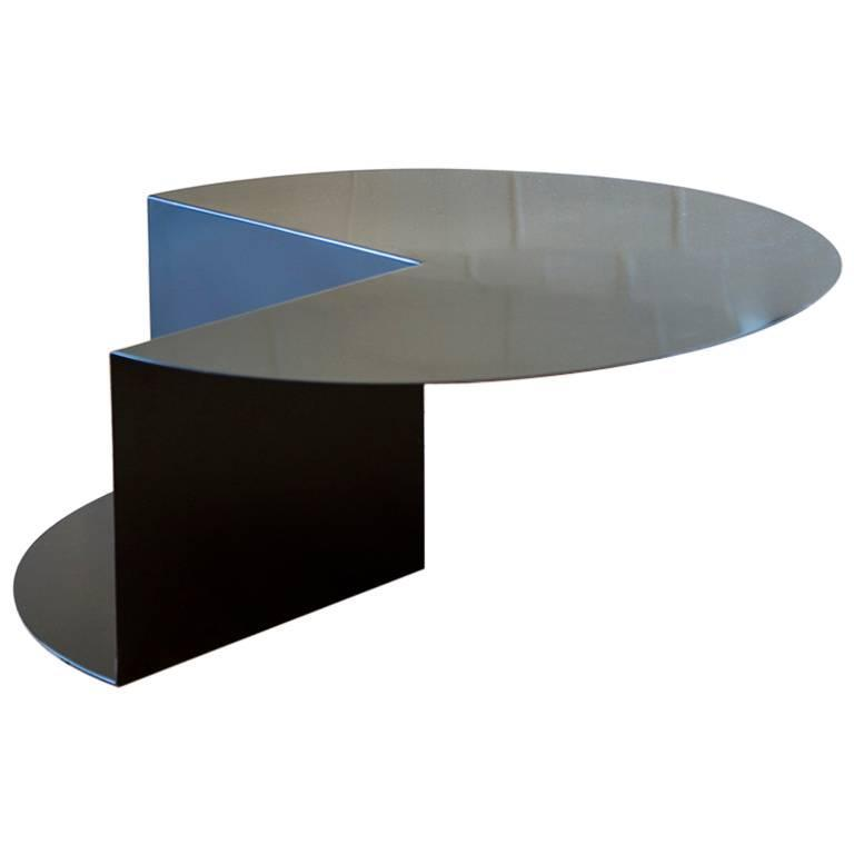 'Cantilever' Minimalist Coffee Table in Coated Steel, Customizable Color   For Sale