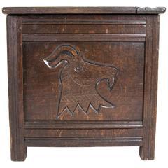 Antique Scottish 18th Century Jacobean Carved Oak Coffer, Blanket Box, Chest