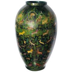 Rare and Whimsical Kashmiri Lacquered Ovoid Vase with Animal Decoration