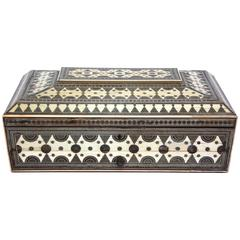 Large Syrian Inlaid Bone and Mother-of-pearl Work Box