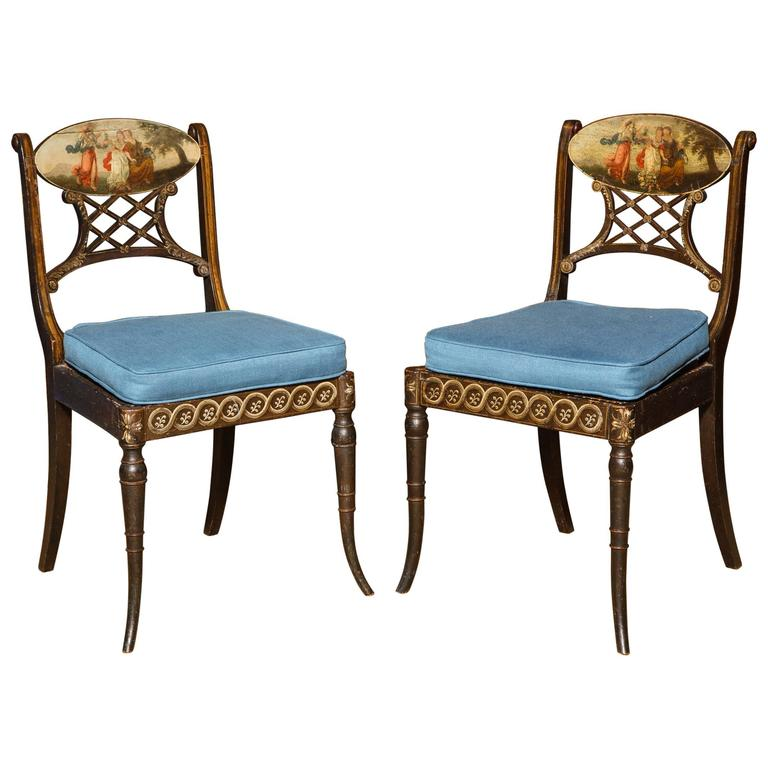 Sheraton Polychrome Faux Rosewood  Side Chairs, English, circa 1795