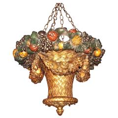 Gilt and Painted  Hanging Pendant Basket Chandelier Uplight Lantern