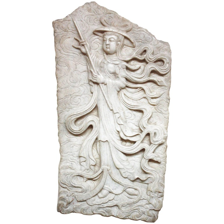 Japanese Marble Wall Carving / Fragment For Sale