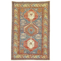 Tribal Collectible Quality Sky Blue 19th Century Antique Caucasian Shirvan Rug