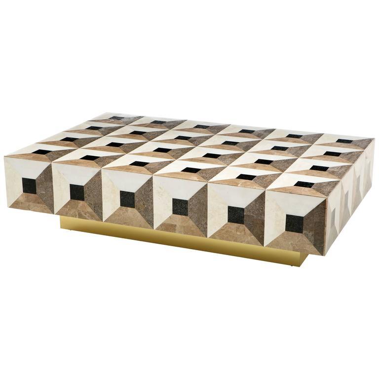 Custom Geometric Design Marble and Brass Coffee Table