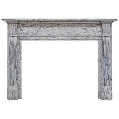19th Century Neoclassical Antique Fireplace Mantel In Bleu Fleuri Marble