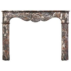 18th Century, Louis XVI Fireplace Mantel in Rare Breche Marble