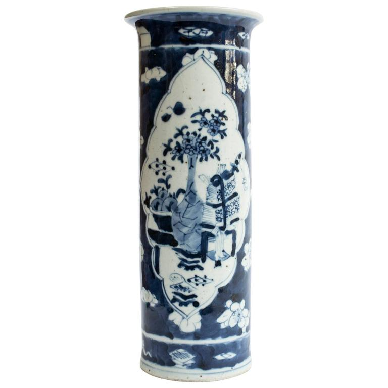 Republic Period Chinese Blue and White Vase with Flared Rim 1