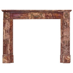 19th Century Empire Rouge Marble Fireplace