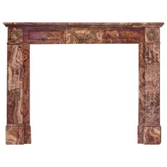 19th Century Empire Rouge Marble Fireplace Mantel