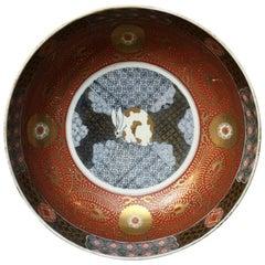 Large Japanese Edo Period Imari Bowl with Rabbit Design, Early 19th Century