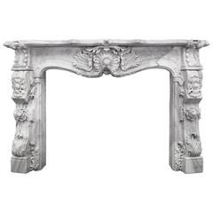 English Rocco Marble Fireplace Mantel