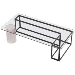 Nunki Coffee Table, Rectangle, Powder Coated Base and Clear Glass