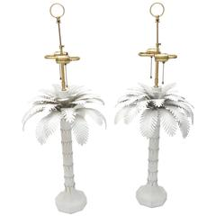 Pair of Hollywood Regency Style, White, Tole, Palm Tree Table Lamps