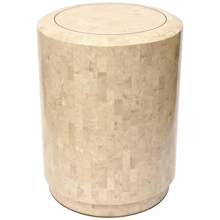 Round Maitland Smith Tessellated Stone Side Table Or Pedestal 1