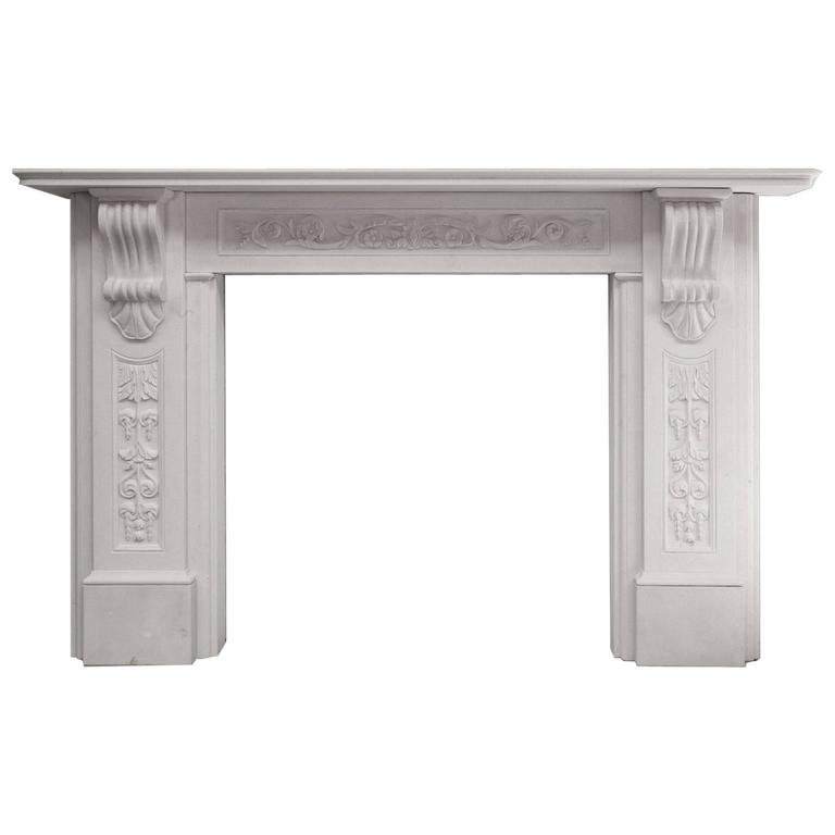 English Marble Corbel Fireplace Mantel