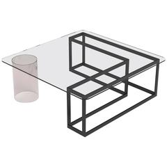 Nunki Coffee Table, Square, Powder Coated Base and Clear Glass