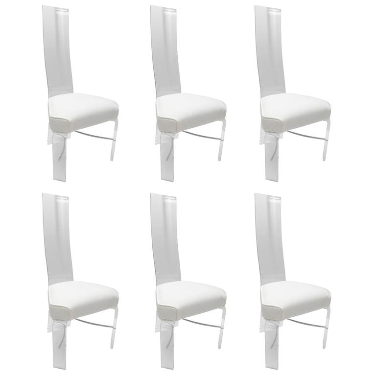 Set of six lucite and chrome dining chairs with white for White chrome dining chairs