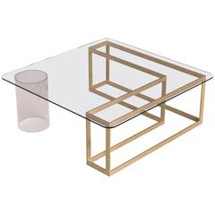 Nunki Coffee Table, Square, Oak Base and Clear Glass