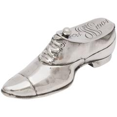 Unusual Edwardian Sterling Silver Shoe-Form Trinkets Box with Hinged Lid