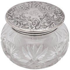Unusual Art Nouveau Sterling Silver Lidded 'with Lion Motif' Powder Jar