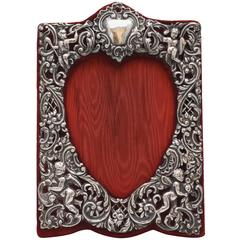 Edwardian Sterling Silver Heart-Form Picture Frame in the Victorian Style