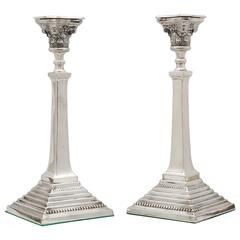 Pair of Tall Edwardian Sterling Silver Neoclassical Column-Form Candlesticks