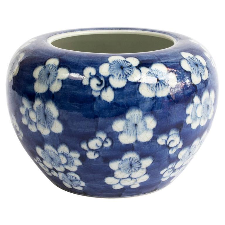 19th Century Chinese Blue and White Prunus Blossom Porcelain Brush Washer 1