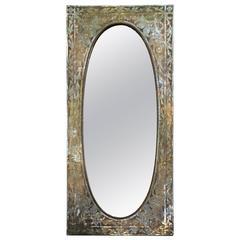 Vintage Etched Copper Mirror