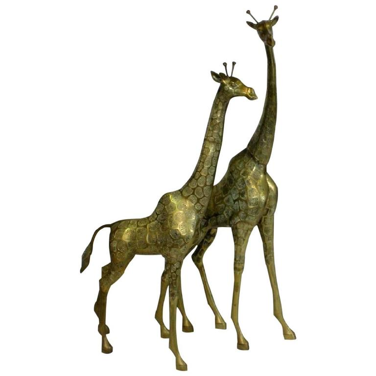 Pair Hollywood Regency Style Brass Giraffe Sculptures, Male and Female, 1970s