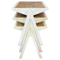 Rare Jon Jansen Set of Cork Top Stacking Tables