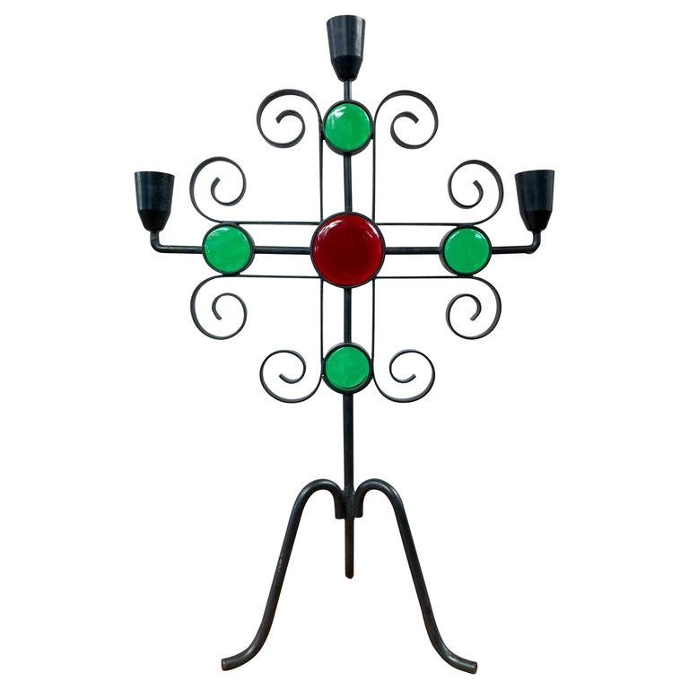 Gunnar Ander for Ystad-Metall Wrought Iron and Glass Candelabra For Sale