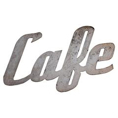 "Old Painted Metal ""Cafe"" Sign"