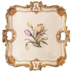 German Meissen Porcelain Rococo Style Square Tray, Dated 1929
