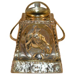 19th Century Brass Inkwell with Equestrian Design