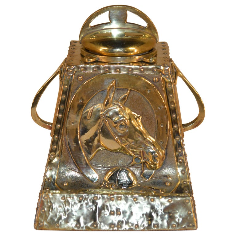 19th Century Brass Inkwell with Equestrian Design For Sale