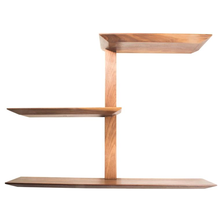 Elemen Shelves II : american walnut , handmade original design made to order For Sale