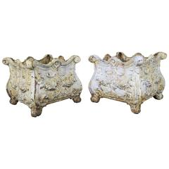 19th Century French Cast Iron Planters, Pair