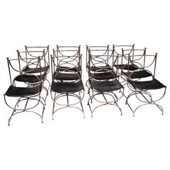 1960s Chrome Steel Bronze & Leather Set of 12 Chairs by Galerie Maison & Jardin