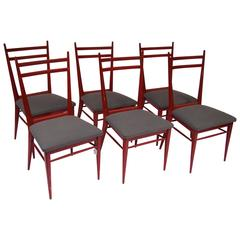 1950s Italian Red Painted Beech Tree and Fabric Set of Six Chairs