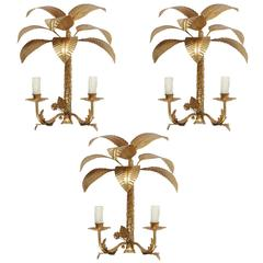 1960s Set of Three Palm Leaves Sconces Maison FlorArt