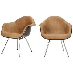 Pair of Eames Armchairs Herman Miller Low H-Base Horse Leather, 1960s