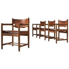 Børge Mogensen Set of Six Armchairs in Oak and Cognac Leather