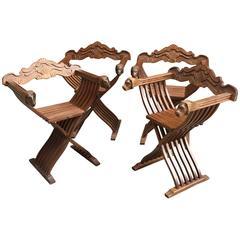 Set of Four Walnut Savonarola Chairs